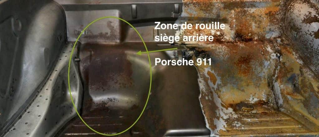 détails sièges arrières rouillés chassis porsche 911