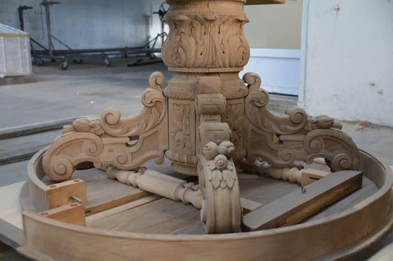 aérogommage décapage bois sculpté piètement de table